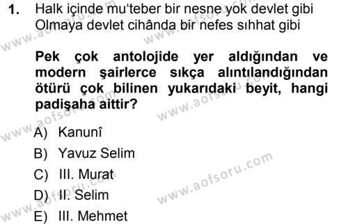 XVI. Yüzyıl Türk Edebiyatı Dersi 2012 - 2013 Yılı (Vize) Ara Sınav Soruları 1. Soru