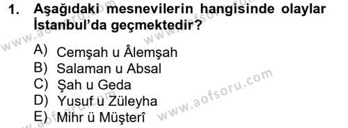 XVI. Yüzyıl Türk Edebiyatı Dersi 2012 - 2013 Yılı Dönem Sonu Sınavı 1. Soru