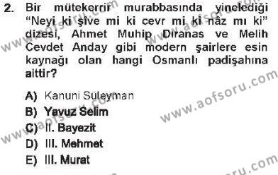 XVI. Yüzyıl Türk Edebiyatı Dersi 2012 - 2013 Yılı Tek Ders Sınav Soruları 2. Soru