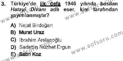 XVI. Yüzyıl Türk Edebiyatı Dersi 2012 - 2013 Yılı Tek Ders Sınav Soruları 3. Soru
