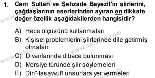 XVI. Yüzyıl Türk Edebiyatı Dersi 2013 - 2014 Yılı Ara Sınavı 1. Soru