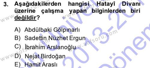 XVI. Yüzyıl Türk Edebiyatı Dersi 2013 - 2014 Yılı (Final) Dönem Sonu Sınav Soruları 3. Soru