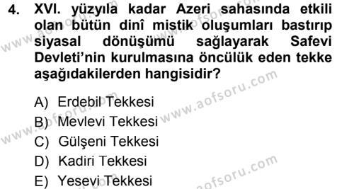 XVI. Yüzyıl Türk Edebiyatı Dersi 2013 - 2014 Yılı (Final) Dönem Sonu Sınav Soruları 4. Soru