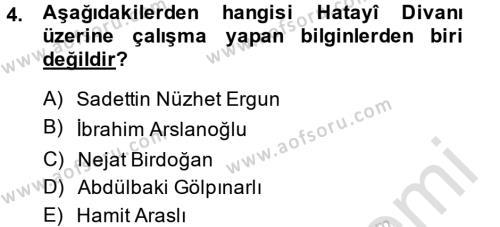XVI. Yüzyıl Türk Edebiyatı Dersi 2013 - 2014 Yılı Tek Ders Sınavı 4. Soru