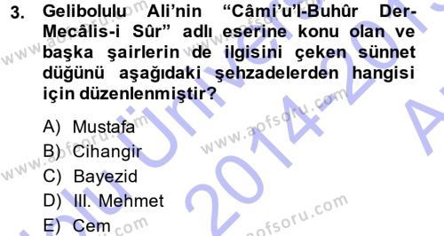 XVI. Yüzyıl Türk Edebiyatı Dersi 2014 - 2015 Yılı (Vize) Ara Sınav Soruları 3. Soru
