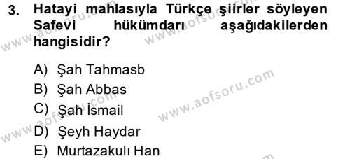 XVI. Yüzyıl Türk Edebiyatı Dersi 2014 - 2015 Yılı (Final) Dönem Sonu Sınav Soruları 3. Soru