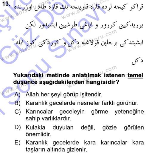 XVI. Yüzyıl Türk Edebiyatı Dersi Dönem Sonu Sınavı Deneme Sınav Soruları 13. Soru