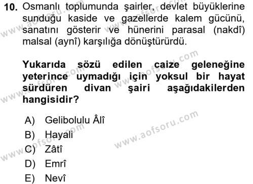 XVI. Yüzyıl Türk Edebiyatı Dersi 3 Ders Sınavı Deneme Sınav Soruları 10. Soru