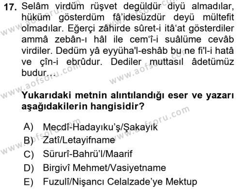 XVI. Yüzyıl Türk Edebiyatı Dersi 3 Ders Sınavı Deneme Sınav Soruları 17. Soru
