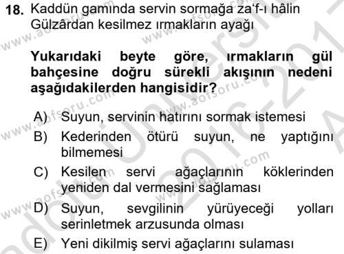 XVI. Yüzyıl Türk Edebiyatı Dersi Ara Sınavı Deneme Sınav Soruları 18. Soru