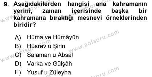 XVI. Yüzyıl Türk Edebiyatı Dersi 3 Ders Sınavı Deneme Sınav Soruları 9. Soru