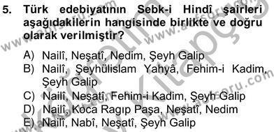 Türk Dili ve Edebiyatı Bölümü 6. Yarıyıl XVII. Yüzyıl Türk Edebiyatı Dersi 2013 Yılı Bahar Dönemi Ara Sınavı 5. Soru