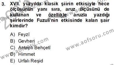 XVII. Yüzyıl Türk Edebiyatı Dersi 2013 - 2014 Yılı Dönem Sonu Sınavı 3. Soru