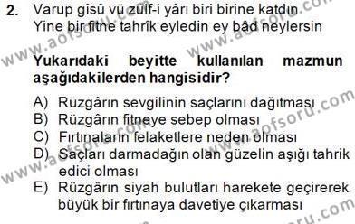 XVII. Yüzyıl Türk Edebiyatı Dersi 2014 - 2015 Yılı Dönem Sonu Sınavı 2. Soru