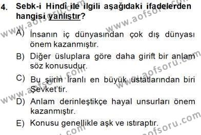 XVII. Yüzyıl Türk Edebiyatı Dersi 2014 - 2015 Yılı Dönem Sonu Sınavı 4. Soru