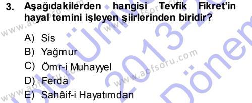 Türk Dili ve Edebiyatı Bölümü 5. Yarıyıl II. Abdülhamit Dönemi Türk Edebiyatı Dersi 2014 Yılı Güz Dönemi Dönem Sonu Sınavı 3. Soru