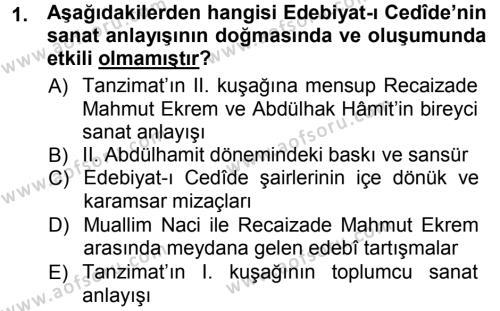 II. Abdülhamit Dönemi Türk Edebiyatı Dersi 2012 - 2013 Yılı (Vize) Ara Sınav Soruları 1. Soru