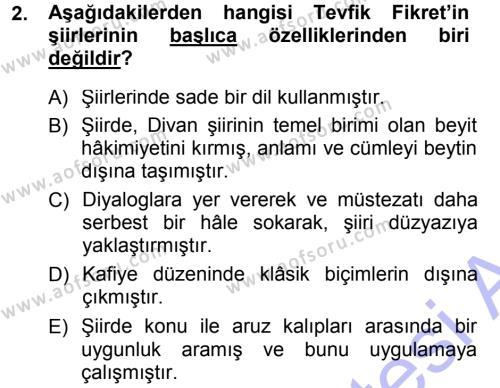II. Abdülhamit Dönemi Türk Edebiyatı Dersi 2012 - 2013 Yılı (Final) Dönem Sonu Sınav Soruları 2. Soru