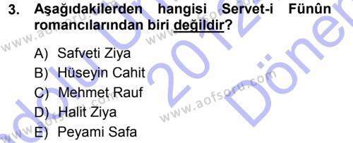 II. Abdülhamit Dönemi Türk Edebiyatı Dersi 2012 - 2013 Yılı (Final) Dönem Sonu Sınav Soruları 3. Soru
