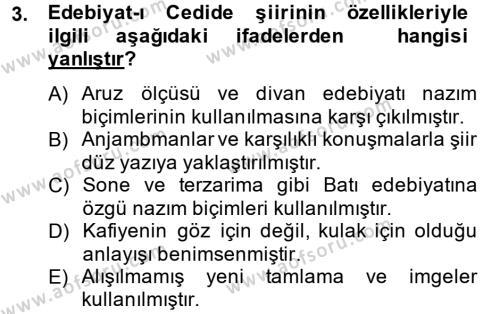 II. Abdülhamit Dönemi Türk Edebiyatı Dersi 2013 - 2014 Yılı (Vize) Ara Sınav Soruları 3. Soru