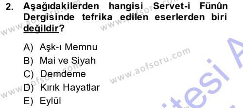 II. Abdülhamit Dönemi Türk Edebiyatı Dersi 2014 - 2015 Yılı (Vize) Ara Sınav Soruları 2. Soru