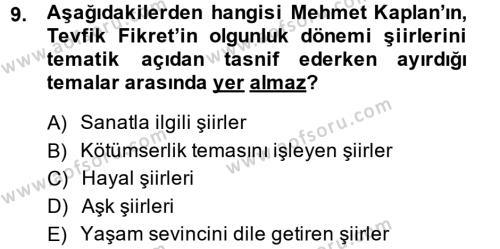 II. Abdülhamit Dönemi Türk Edebiyatı Dersi Ara Sınavı Deneme Sınav Soruları 9. Soru