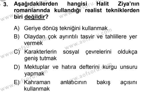 II. Abdülhamit Dönemi Türk Edebiyatı Dersi 2014 - 2015 Yılı (Final) Dönem Sonu Sınav Soruları 3. Soru
