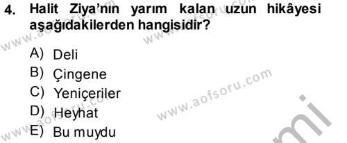 II. Abdülhamit Dönemi Türk Edebiyatı Dersi 2014 - 2015 Yılı (Final) Dönem Sonu Sınav Soruları 4. Soru