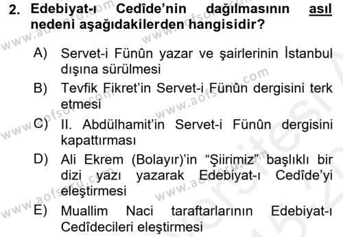 II. Abdülhamit Dönemi Türk Edebiyatı Dersi 2015 - 2016 Yılı Tek Ders Sınav Soruları 2. Soru