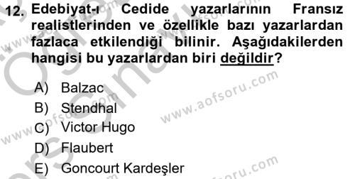 II. Abdülhamit Dönemi Türk Edebiyatı Dersi 3 Ders Sınavı Deneme Sınav Soruları 12. Soru
