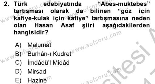 II. Abdülhamit Dönemi Türk Edebiyatı Dersi 2016 - 2017 Yılı 3 Ders Sınav Soruları 2. Soru