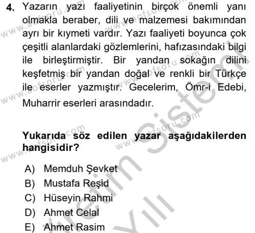 II. Abdülhamit Dönemi Türk Edebiyatı Dersi 3 Ders Sınavı Deneme Sınav Soruları 4. Soru