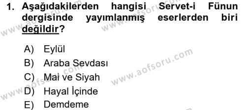 II. Abdülhamit Dönemi Türk Edebiyatı Dersi 2016 - 2017 Yılı (Vize) Ara Sınav Soruları 1. Soru