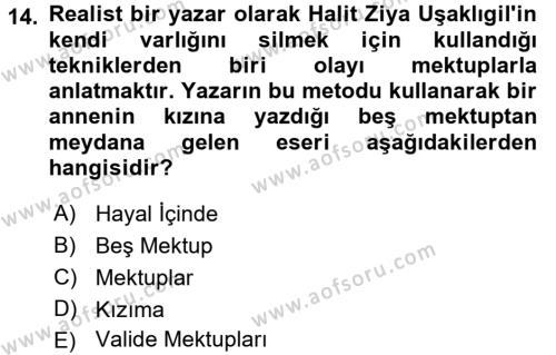 II. Abdülhamit Dönemi Türk Edebiyatı Dersi Ara Sınavı Deneme Sınav Soruları 14. Soru