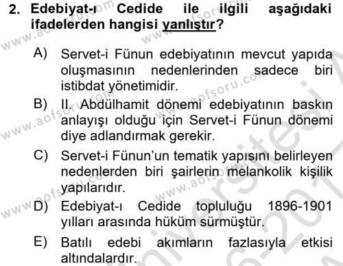 II. Abdülhamit Dönemi Türk Edebiyatı Dersi 2016 - 2017 Yılı (Vize) Ara Sınav Soruları 2. Soru