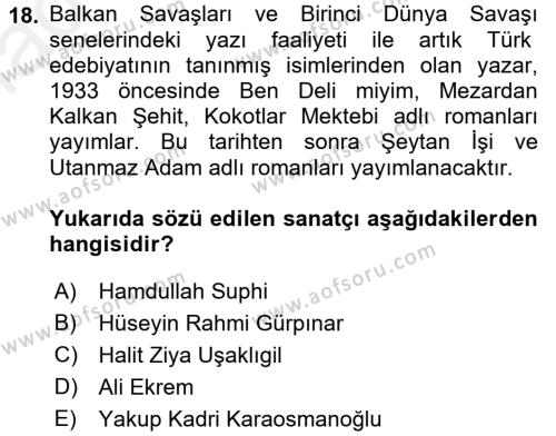 II. Abdülhamit Dönemi Türk Edebiyatı Dersi 3 Ders Sınavı Deneme Sınav Soruları 18. Soru