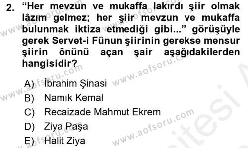 II. Abdülhamit Dönemi Türk Edebiyatı Dersi 2017 - 2018 Yılı 3 Ders Sınav Soruları 2. Soru