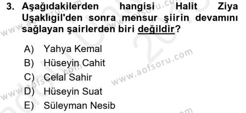 II. Abdülhamit Dönemi Türk Edebiyatı Dersi 3 Ders Sınavı Deneme Sınav Soruları 3. Soru