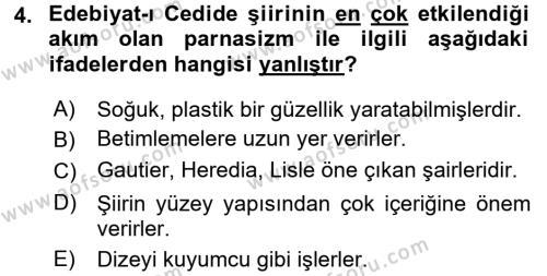 II. Abdülhamit Dönemi Türk Edebiyatı Dersi 2017 - 2018 Yılı 3 Ders Sınav Soruları 4. Soru