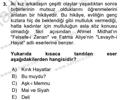 II. Abdülhamit Dönemi Türk Edebiyatı Dersi 2017 - 2018 Yılı (Vize) Ara Sınav Soruları 3. Soru