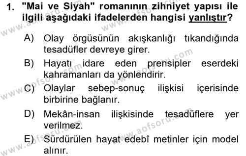 II. Abdülhamit Dönemi Türk Edebiyatı Dersi 2017 - 2018 Yılı (Final) Dönem Sonu Sınav Soruları 1. Soru