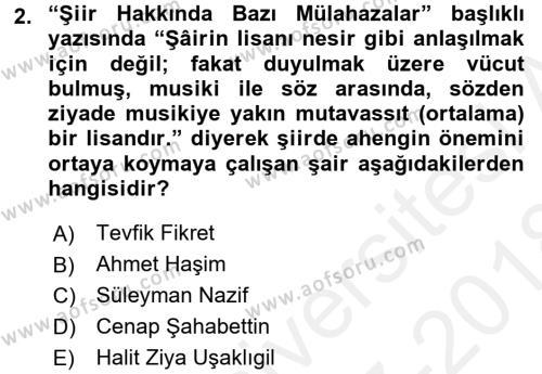 II. Abdülhamit Dönemi Türk Edebiyatı Dersi 2017 - 2018 Yılı (Final) Dönem Sonu Sınav Soruları 2. Soru