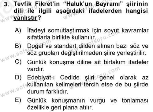II. Abdülhamit Dönemi Türk Edebiyatı Dersi 2017 - 2018 Yılı (Final) Dönem Sonu Sınav Soruları 3. Soru