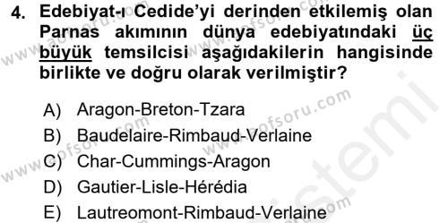 II. Abdülhamit Dönemi Türk Edebiyatı Dersi 2017 - 2018 Yılı (Final) Dönem Sonu Sınav Soruları 4. Soru