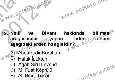 Türk Dili ve Edebiyatı Bölümü 6. Yarıyıl Türk Edebiyatının Mitolojik Kaynakları Dersi 2013 Yılı Bahar Dönemi Ara Sınavı 4. Soru