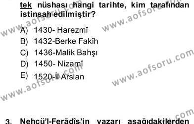 Türk Edebiyatının Mitolojik Kaynakları Dersi 2013 - 2014 Yılı (Vize) Ara Sınav Soruları 2. Soru