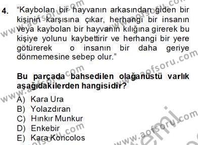 Türk Edebiyatının Mitolojik Kaynakları Dersi 2013 - 2014 Yılı Dönem Sonu Sınavı 4. Soru