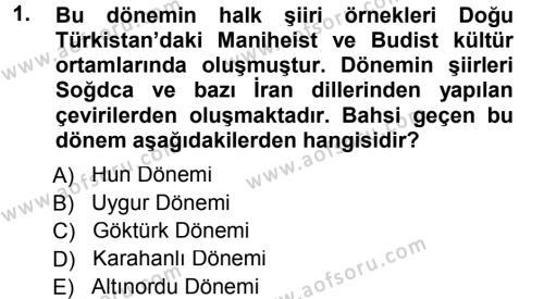 Türk Dili ve Edebiyatı Bölümü 5. Yarıyıl Türk Halk Şiiri Dersi 2013 Yılı Güz Dönemi Dönem Sonu Sınavı 1. Soru