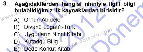 Türk Dili ve Edebiyatı Bölümü 5. Yarıyıl Türk Halk Şiiri Dersi 2013 Yılı Güz Dönemi Dönem Sonu Sınavı 3. Soru
