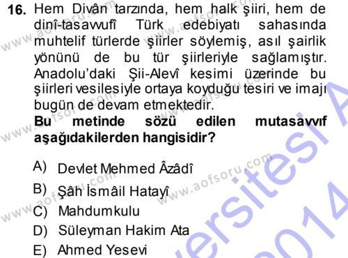 Türk Halk Şiiri Dersi Ara Sınavı Deneme Sınav Soruları 16. Soru